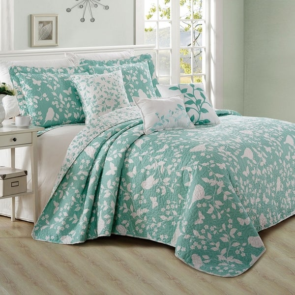 Serenta 6 Piece Birdsong Cotton Blend Quilt Bedspread Coverlet Set. Opens flyout.