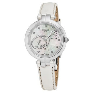 Tissot Women's T094.210.16.111.01 'Flamingo' Mother of Pearl Dial White Leather Strap Swiss Quartz Watch