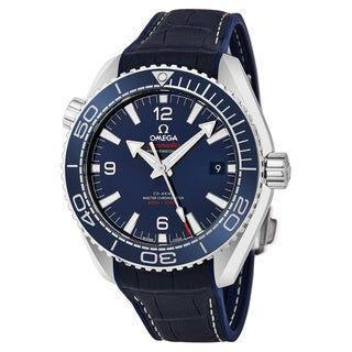 Omega Men's 215.33.44.21.03.00 'Planet Ocean' Blue Dial Blue Leather Strap Co-Axial Swiss Automatic Watch