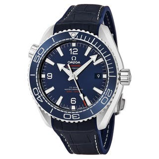 Omega Men's 215.33.44.21.03.00 'Planet Ocean' Blue Dial Blue Leather Strap Co-Axial Swiss Automatic Watch|https://ak1.ostkcdn.com/images/products/17740954/P23943297.jpg?impolicy=medium