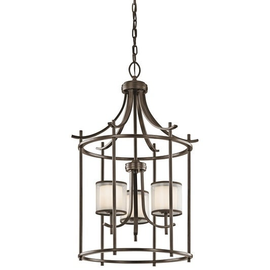 Gracewood Hollow Farouk Collection 3-light Mission Bronze Foyer Pendant