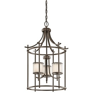 Gracewood Hollow Farouk Collection 3-light Mission Bronze Foyer Pendant - Thumbnail 0