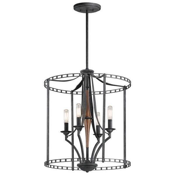 Kichler Lighting Clague Collection 4-light Distressed Black Foyer Pendant