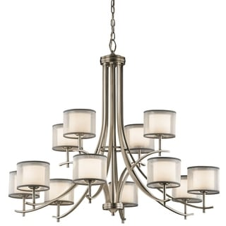 Gracewood Hollow Farouk Collection 12-light Antique Pewter Chandelier - Thumbnail 0