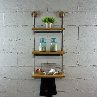 Furniture Pipeline Juneau Farmhouse Industrial 3 Tier 18-Inch, 24-Inch & 30-Inch Wide Shelf Wall Etagere Rack