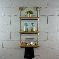 Juneau Industrial Metal with Reclaimed Wood Finish 3-tiered Multi-purpose Etagere Wall Mounted Pipe Shelf Rack