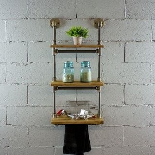 Furniture Pipeline Juneau Farmhouse Industrial 3 Tier Shelf Wall Etagere Rack