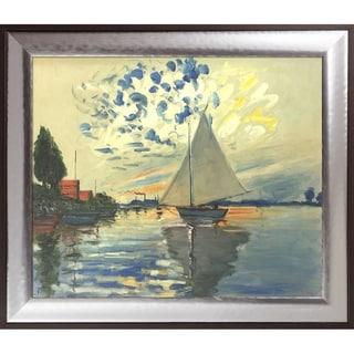 Claude Monet 'Sailboat at Le Petit-Gennevilliers' Hand Painted Oil Reproduction