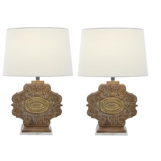 Urban Designs Lindley Carved Wood 23 Inch Table Lamp (Set of 2)