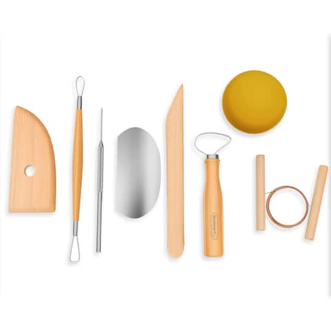 Pottery Tool Kit- 8 Piece Stainless Steel Clay Sculpting and Modeling Art Set By Stalwart