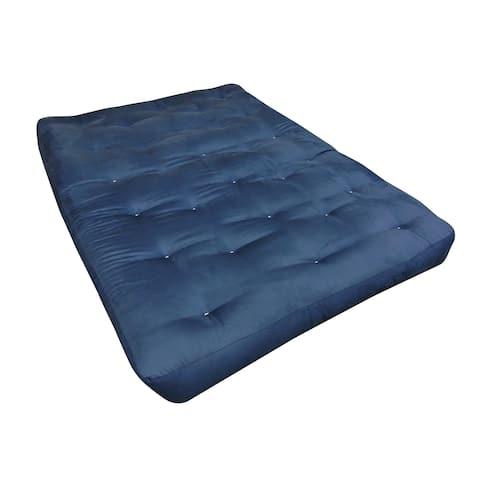 """6"""" All Cotton Queen Blue Microfiber Futon Mattress"""