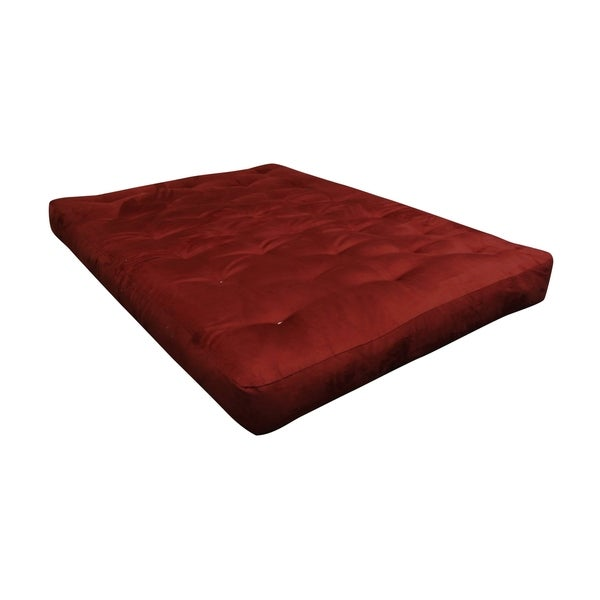 "6"" All Cotton Cott Size 30X75 Burgundy Microfiber Futon Mattress"