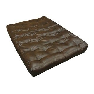 All Cotton Brown Leather 21-inch x 39-inch x 4-inch Twin Loveseat Ottoman Futon Mattress