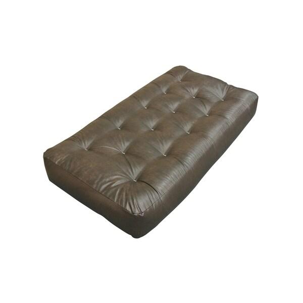All Cotton Brown Leather 4 Inch Chair Futon Mattress