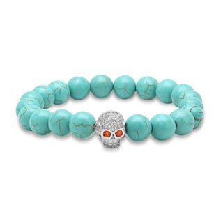 Piatella Ladies Turquoise Beaded Bracelet with Cubic Zirconia in 3 Colors