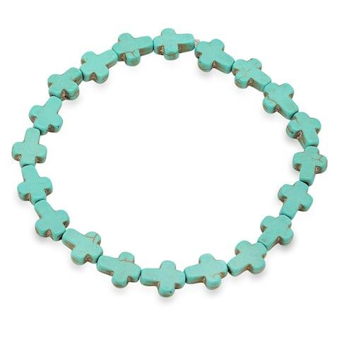 Piatella Ladies Genuine Turquoise Mini Cross Stretch Bracelet