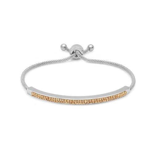 Piatella Ladies Stainless Steel Cubic Zirconia ID Drawstring Bracelet in 6 Colors