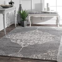 The Gray Barn Zeffie Traditional Vintage Faded Floral Heart Medallion Dark Grey Rug - 5' x 8'
