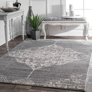 nuLOOM Traditional Vintage Faded Floral Heart Medallion Dark Grey Rug (8'2 x 11'6)