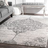 The Gray Barn Zeffie Traditional Vintage Faded Floral Heart Medallion Grey Rug - 8'2 x 11'6