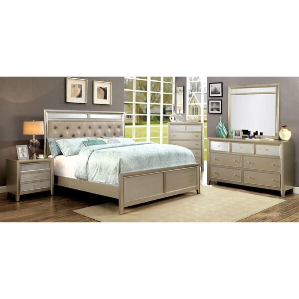 Furniture Of America Merria Contemporary Glam 4 Piece Silver Bedroom Set