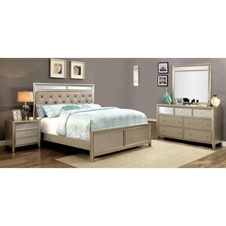 Furniture of America Merria Contemporary Glam 4-piece Silver Bedroom Set