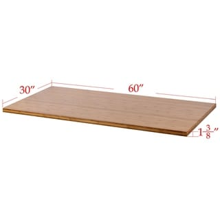 """Boonliving Eco-Friendly Natural Bamboo Tabletop, 30"""" x 60"""" (Motor Frame Not Included)"""
