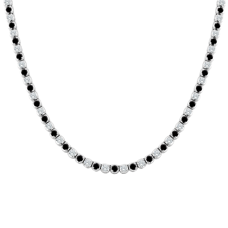 Auriya 9 Carat Tw Black And White Diamond Tennis Necklace 14k Gold 16 Inch Overstock 17743477
