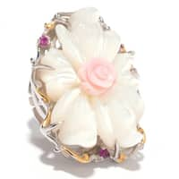 Michael Valitutti Palladium Silver Carved Mother-of-Pearl, Conch Shell & Ruby Button Cover