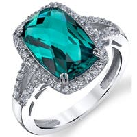 Oliveti Colombian Green Simulated Emerald Cushion-Cut Cubic Zirconia Sterling Silver Engagement Ring