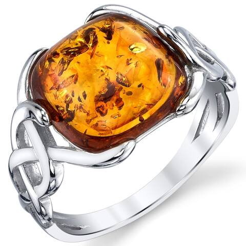 Oliveti Sterling Silver Cognac Color Baltic Amber Stone Irish Celtic Design Ring