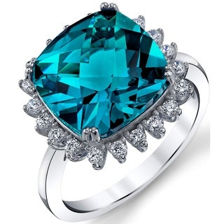 Oliveti 6 Carat London Blue Simulated Topaz Cushion Cut and CZ Sterling Silver Engagement Ring
