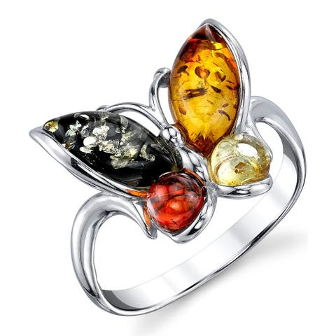 Oliveti Sterling Silver Baltic Amber Multi Color Butterfly Ring Band