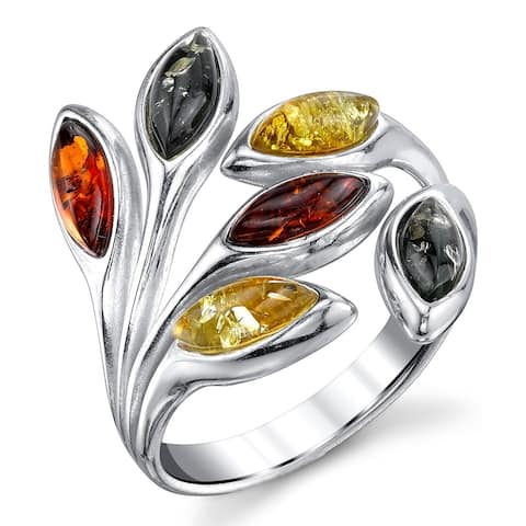 Oliveti Sterling Silver Baltic Amber Multi Color Leaf Fashion Ring Band