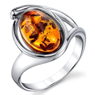 Oliveti Sterling Silver Baltic Amber Ring with Cognac Color Oval Shape Center Stone