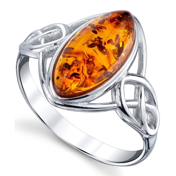 Sterling Silver Amber Marquise Shape Stone Ring