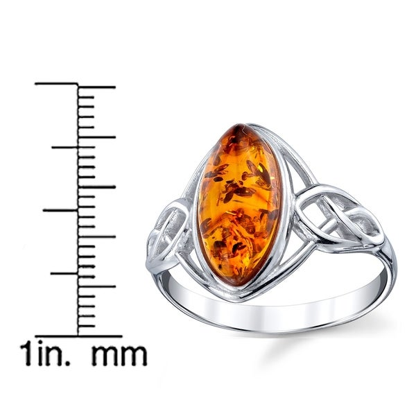 Ring 925 Sterling Silver /& Genuine 12 x 8 mm Cognac Oval Baltic Amber