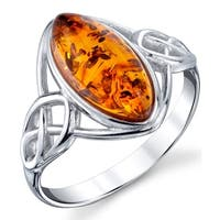 Oliveti Sterling Silver Baltic Amber Celtic Design Ring Cognac Color Marquise Shape Stone
