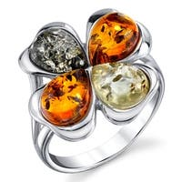 Oliveti Sterling Silver Baltic Amber Multi Color Clover Leaf Ring Band