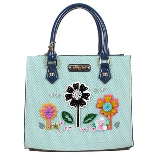Nicole Lee Blue Laser Cut Flower Design Satchel Bag