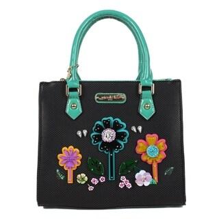 Nicole Lee Black Laser Cut Flower Design Satchel Bag