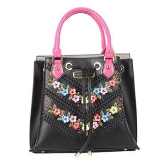 Nicole Lee Black Suede Flower Embellished Satchel Bag
