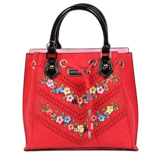 Nicole Lee Red Suede Flower Embellished Satchel Bag