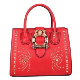 Nicole Lee Red Studded Buckle Belt Embellished Satchel Bag