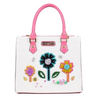 Nicole Lee White Laser Cut Flower Design Satchel Bag