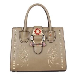 Nicole Lee Olive Studded Buckle Belt Embellished Satchel Bag