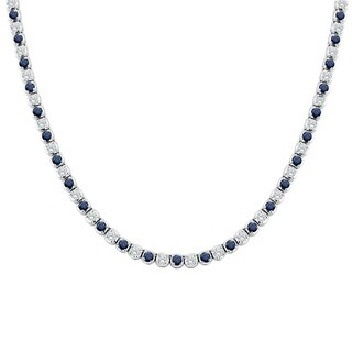 14k Gold Round 4 1/2ct Blue Sapphire and 4 1/2ct TW Diamond Tennis Necklace by Auriya