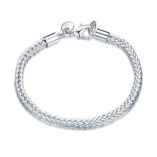 Hakbaho Jewelry Sterling Silver Tight Knit Thick Squared Chevron Bracelet|https://ak1.ostkcdn.com/images/products/17743594/P23945549.jpg?impolicy=medium