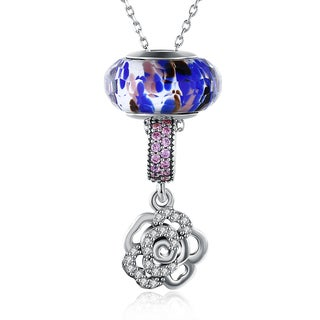Hakbaho Jewelry .925 Sterling Silver Zircon Floral Pav'e Necklace
