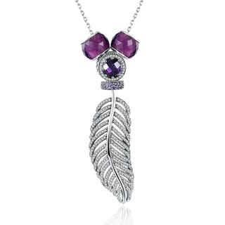 Hakbaho Jewelry .925 Sterling Silver Pav'e Leaf Branch Purple Necklace